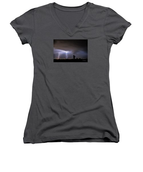 Women's V-Neck T-Shirt (Junior Cut) featuring the photograph Stormy Night by Karen Slagle