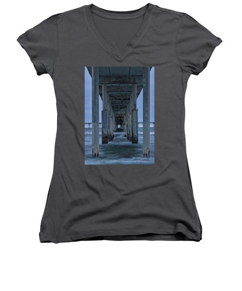 Stormy Pier In Ocean Beach Women's V-Neck