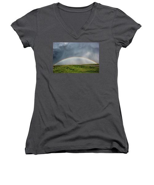 Stormy Rainbow Women's V-Neck (Athletic Fit)