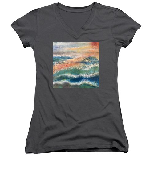 Women's V-Neck T-Shirt (Junior Cut) featuring the painting Stormy Seas by Kim Nelson
