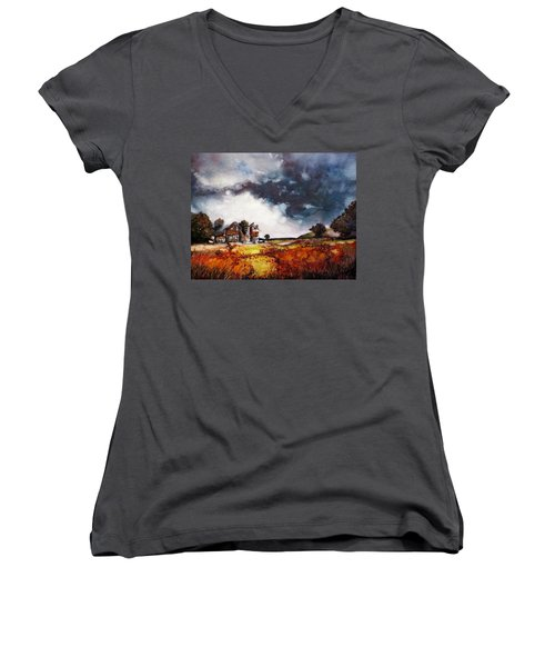 Stormy Skies Women's V-Neck (Athletic Fit)