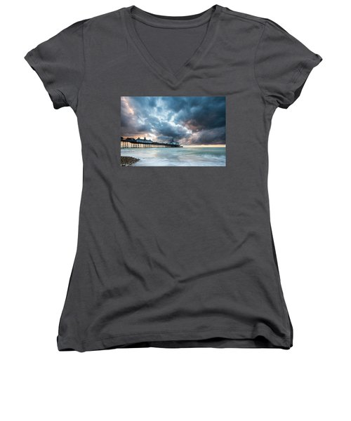 Stormy Sunrise Over Eastbourne Pier Women's V-Neck (Athletic Fit)