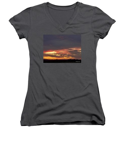 Stormy Sunset Women's V-Neck T-Shirt (Junior Cut) by Betty Northcutt