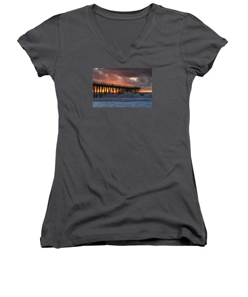 Stormy Sunset Women's V-Neck (Athletic Fit)