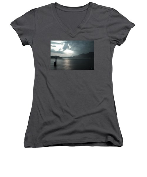 Stormy Sunset On The Lake Women's V-Neck T-Shirt (Junior Cut) by Cesare Bargiggia