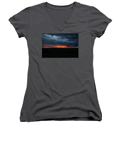 Stormy Weather Women's V-Neck T-Shirt (Junior Cut) by Kathy M Krause