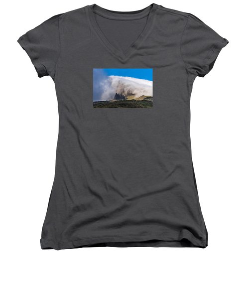 Women's V-Neck T-Shirt (Junior Cut) featuring the photograph Storr In Cloud by Gary Eason