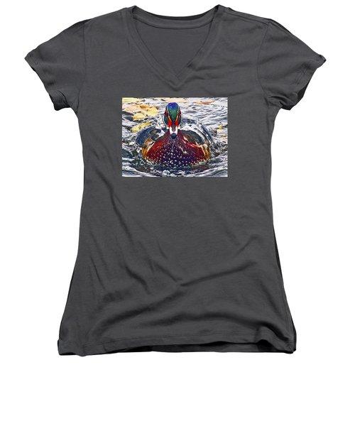 Straight Ahead Wood Duck Women's V-Neck T-Shirt (Junior Cut) by Jean Noren