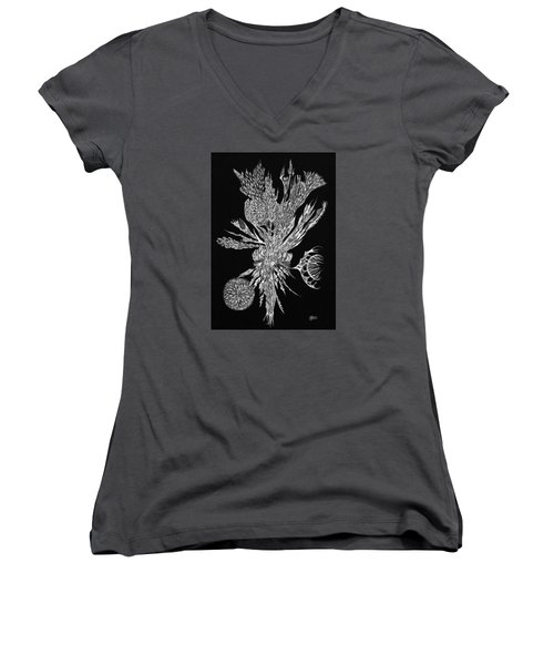 Bouquet Of Curiosity Women's V-Neck T-Shirt (Junior Cut) by Charles Cater