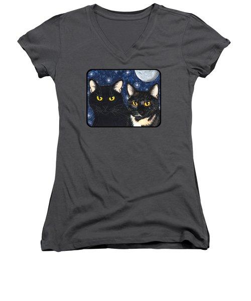Strangeling's Felines - Black Cat Tortie Cat Women's V-Neck T-Shirt (Junior Cut) by Carrie Hawks