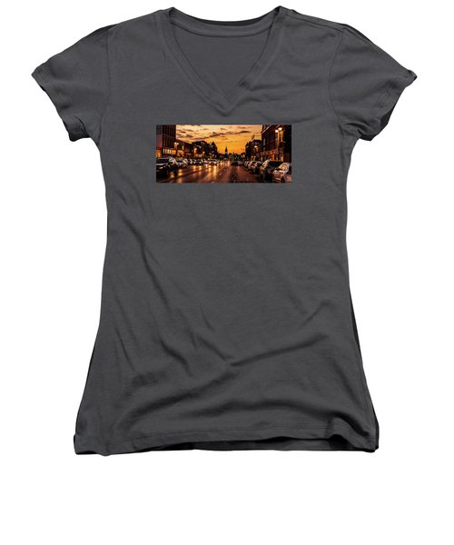 Stratford Main Drag At Dusk Women's V-Neck