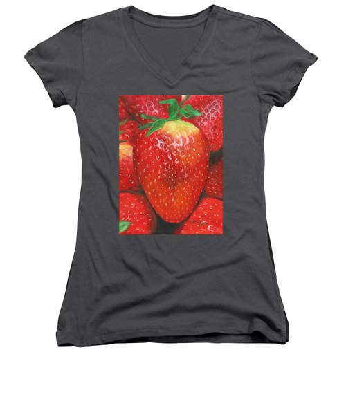 Women's V-Neck featuring the painting Strawberries by Nancy Nale