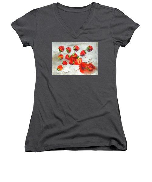 Strawberries On Paper Towel Women's V-Neck