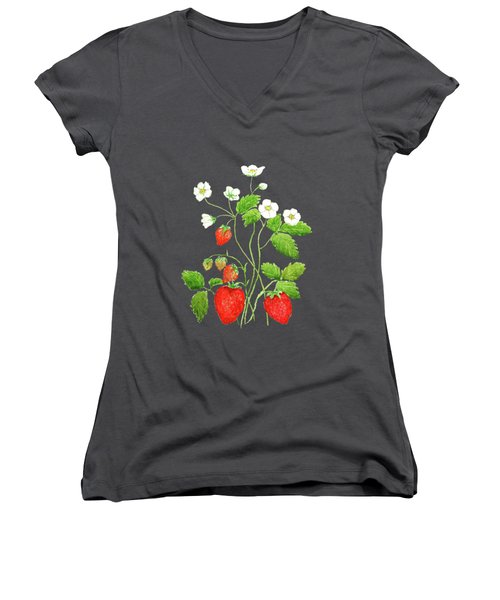 Strawberry  Women's V-Neck T-Shirt (Junior Cut) by Color Color