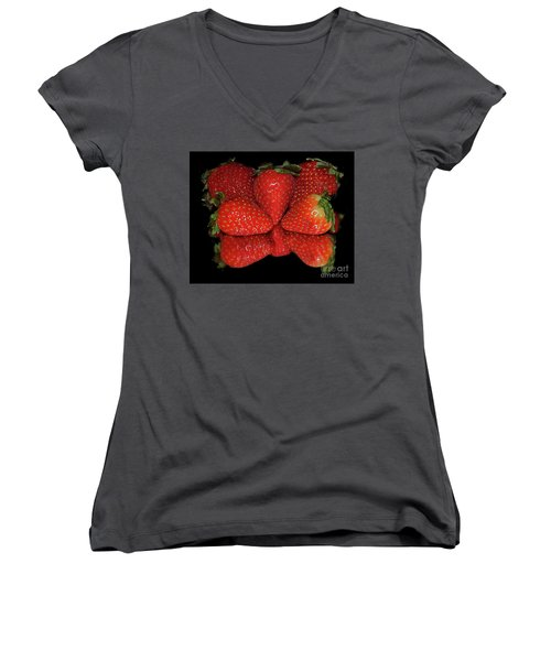 Women's V-Neck T-Shirt (Junior Cut) featuring the photograph Strawberry by Elvira Ladocki