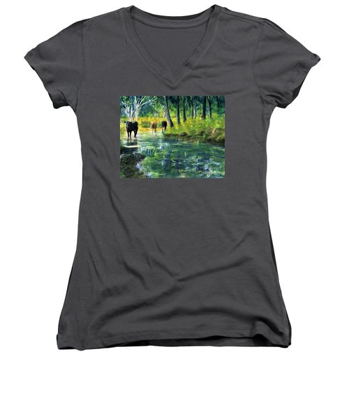 Streaming Cows Women's V-Neck (Athletic Fit)