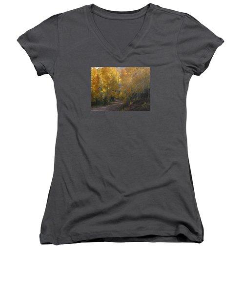 Streaming Light Paiute Trail Fremont Utah Women's V-Neck T-Shirt (Junior Cut) by Deborah Moen
