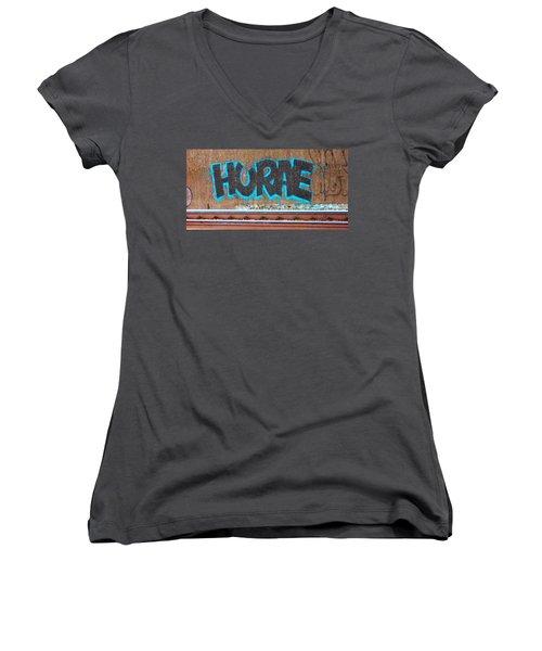Street Graffiti-hooray Women's V-Neck T-Shirt (Junior Cut) by Martin Cline