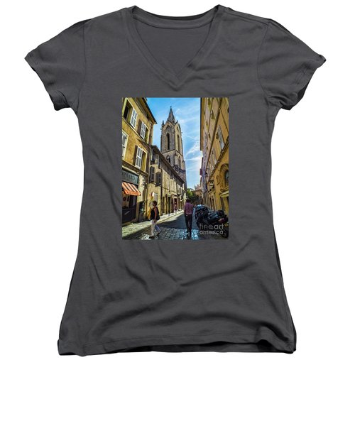 Street In Aix Women's V-Neck T-Shirt (Junior Cut) by Karen Lewis