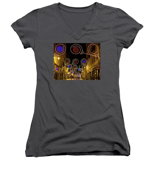 Women's V-Neck T-Shirt (Junior Cut) featuring the photograph Street In Coimbra by Patricia Schaefer