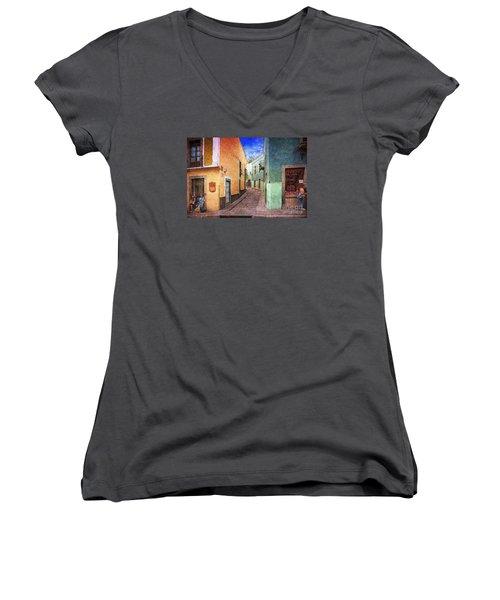 Women's V-Neck T-Shirt (Junior Cut) featuring the photograph Street In Guanajuato by John  Kolenberg