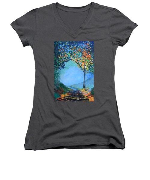 Street Lamp Women's V-Neck T-Shirt (Junior Cut) by Gary Smith