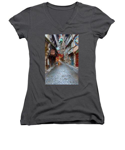 Street Le Mont Saint Michel Women's V-Neck T-Shirt (Junior Cut) by Hugh Smith