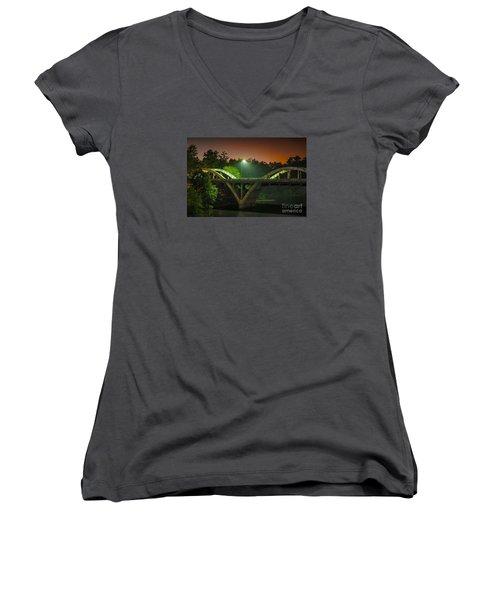 Street Light On Rogue River Bridge Women's V-Neck T-Shirt (Junior Cut) by Jerry Cowart