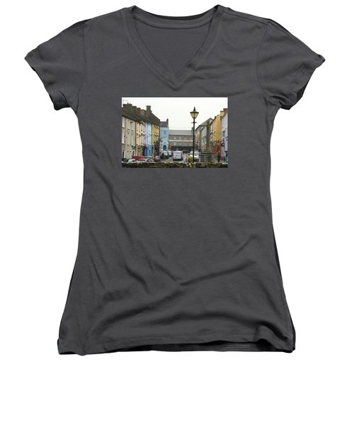 Women's V-Neck T-Shirt (Junior Cut) featuring the photograph Streets Of Cahir by Marie Leslie