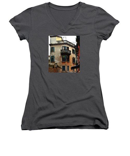Women's V-Neck T-Shirt (Junior Cut) featuring the photograph Street Scene Venician Shutters by Richard Ortolano