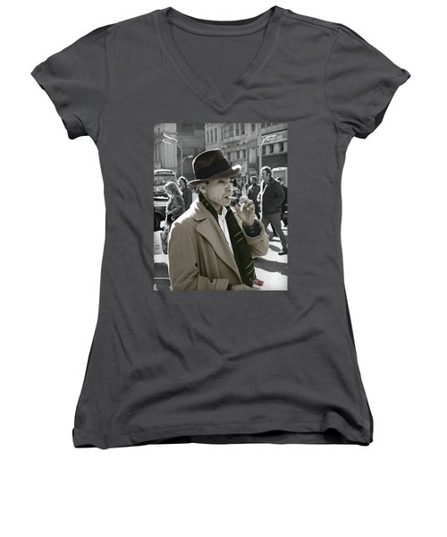 Women's V-Neck T-Shirt (Junior Cut) featuring the photograph Street Smoking Man by Martin Konopacki