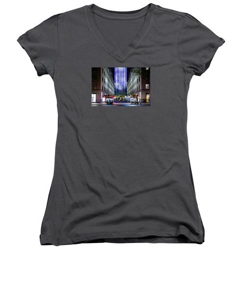 Women's V-Neck T-Shirt (Junior Cut) featuring the photograph Rockefeller Center by M G Whittingham