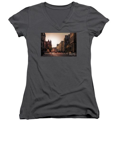 Streets Of Edinburgh Scotland  Women's V-Neck