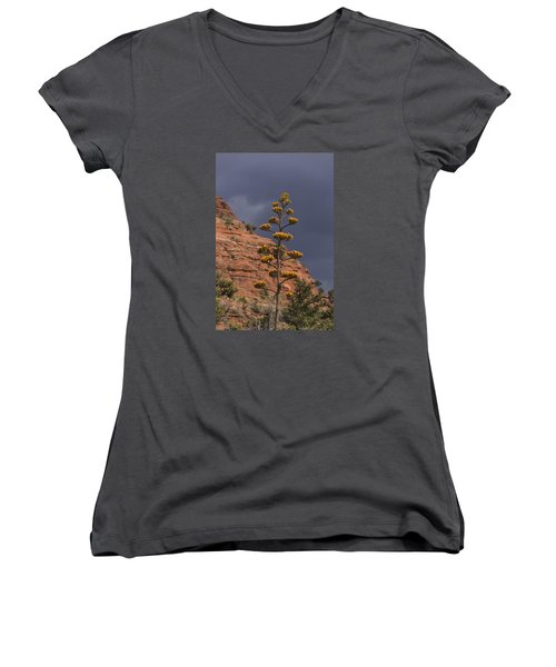 Stretching Into A Threatening Sky Women's V-Neck T-Shirt (Junior Cut) by Laura Pratt