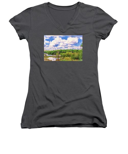 Striking Clouds Above Small Water Inlet And Green Trees Women's V-Neck