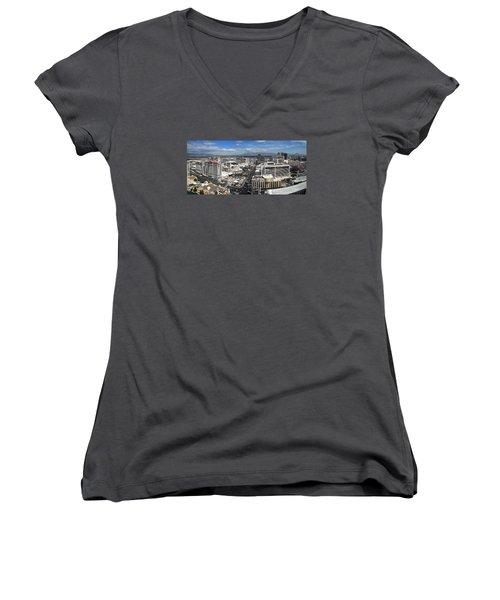 Strip And Flamingo Women's V-Neck T-Shirt (Junior Cut)