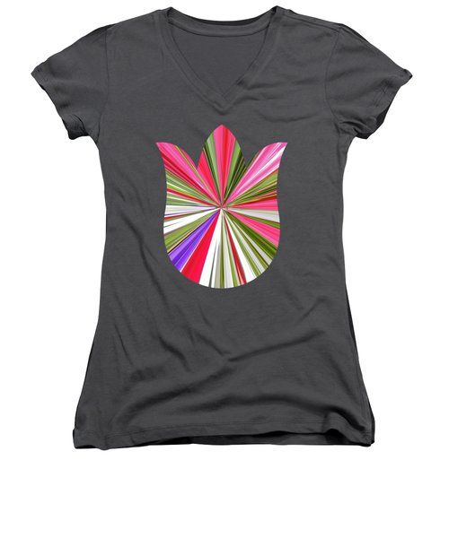Striped Tulip Women's V-Neck T-Shirt (Junior Cut) by Marian Bell
