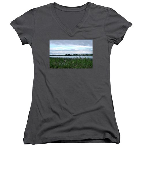 Women's V-Neck T-Shirt (Junior Cut) featuring the photograph Strolling By The Lake by Terence Davis