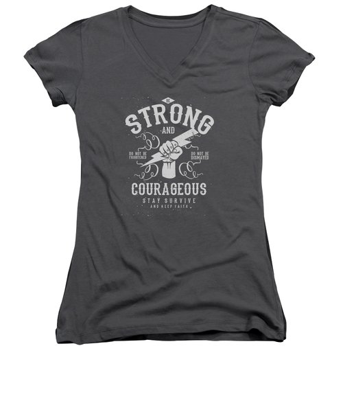 Strong And Courageous Women's V-Neck (Athletic Fit)