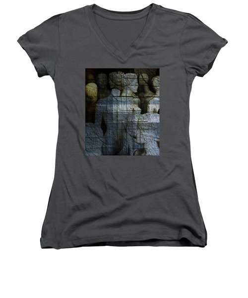 Strong, Fearless, Beautiful  Women's V-Neck T-Shirt (Junior Cut) by Danica Radman