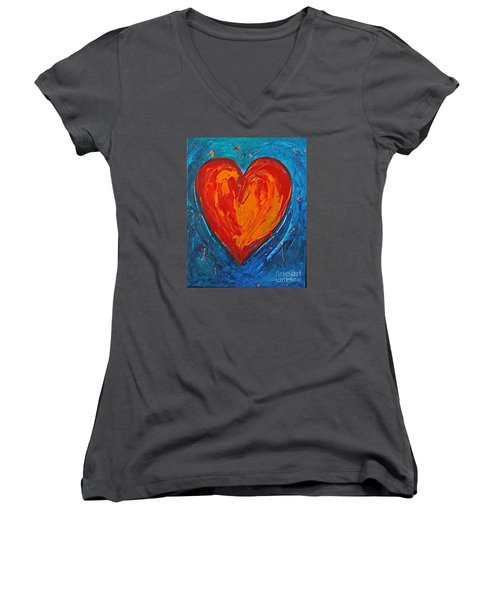 Strong Heart Women's V-Neck T-Shirt (Junior Cut) by Diana Bursztein