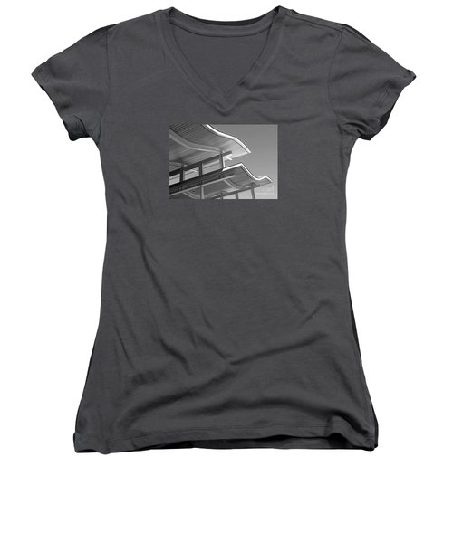 Structure Abstract 7 Women's V-Neck T-Shirt (Junior Cut) by Cheryl Del Toro
