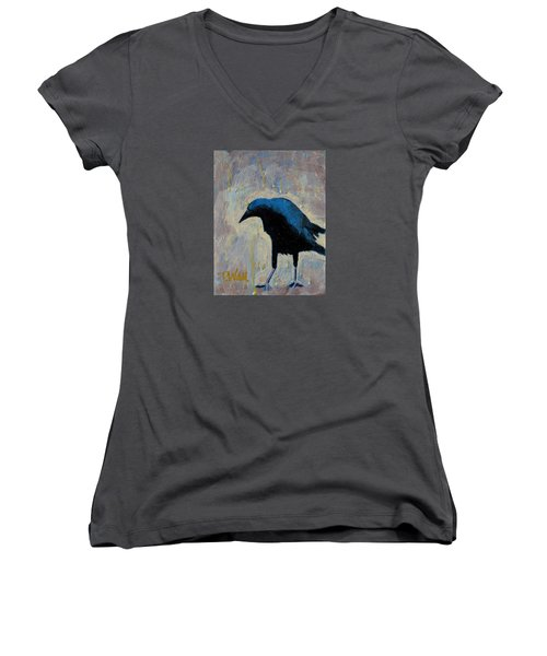 Women's V-Neck T-Shirt (Junior Cut) featuring the painting Struttin' by Pattie Wall