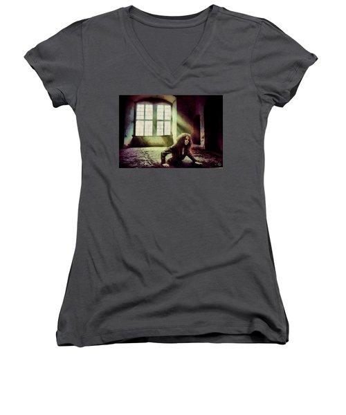 Women's V-Neck T-Shirt (Junior Cut) featuring the digital art Stuck by Gun Legler