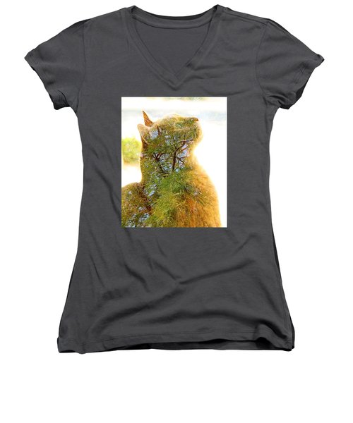 Stuck In Cat Women's V-Neck (Athletic Fit)