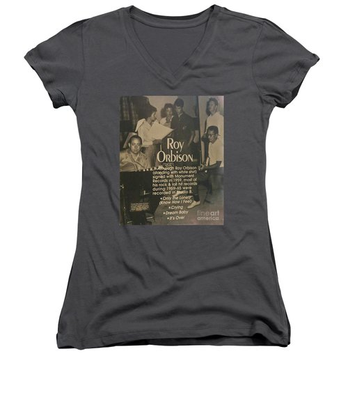 Studio B Roy Orbison  Women's V-Neck T-Shirt (Junior Cut) by Chuck Kuhn