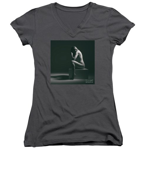 Studio Nude Seated Women's V-Neck (Athletic Fit)