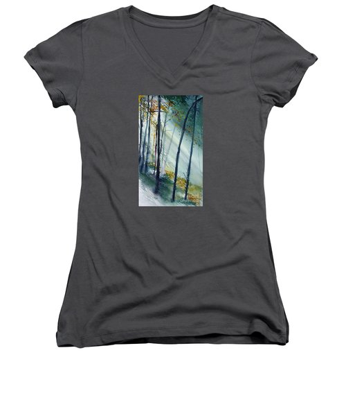 Study The Trees Women's V-Neck T-Shirt (Junior Cut) by Allison Ashton