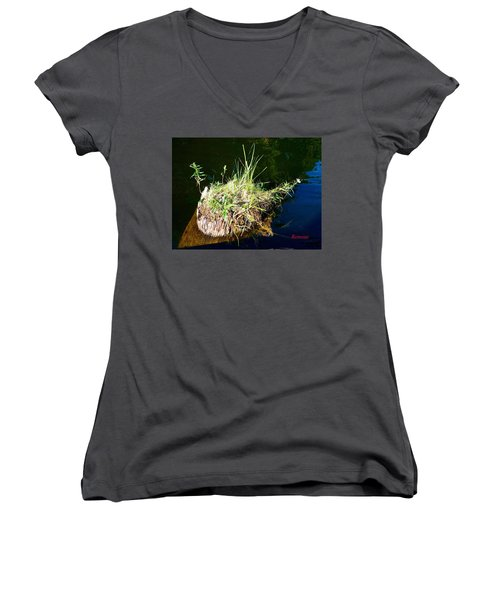 Women's V-Neck T-Shirt (Junior Cut) featuring the photograph Stump Art 11 by Sadie Reneau