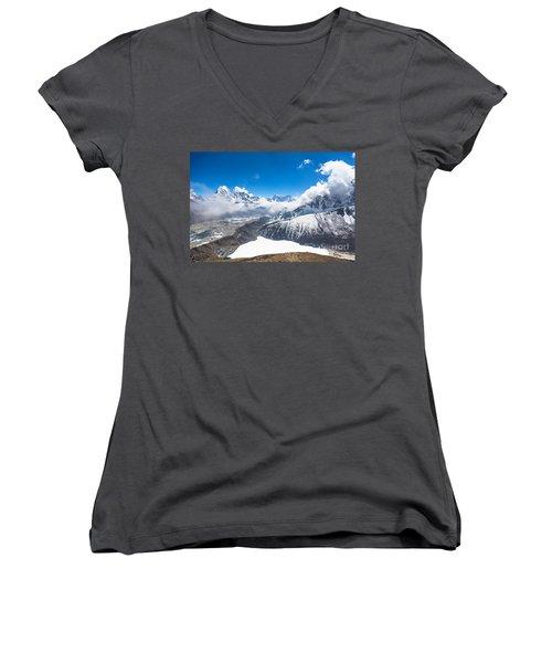 Stunning Panorama Over Gokyo In Nepal Women's V-Neck T-Shirt